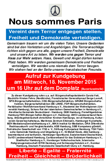 Vereint dem Terror entgegen stellen. Freiheit und Demokratie verteidigen.