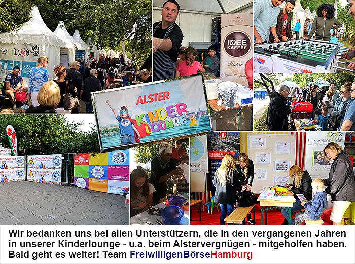 FreiwilligenBörseHamburg bedankt sich bei allen Unterstützern des Kinderfestivals in der Kinderlounge beim Alstervergnügen 2017